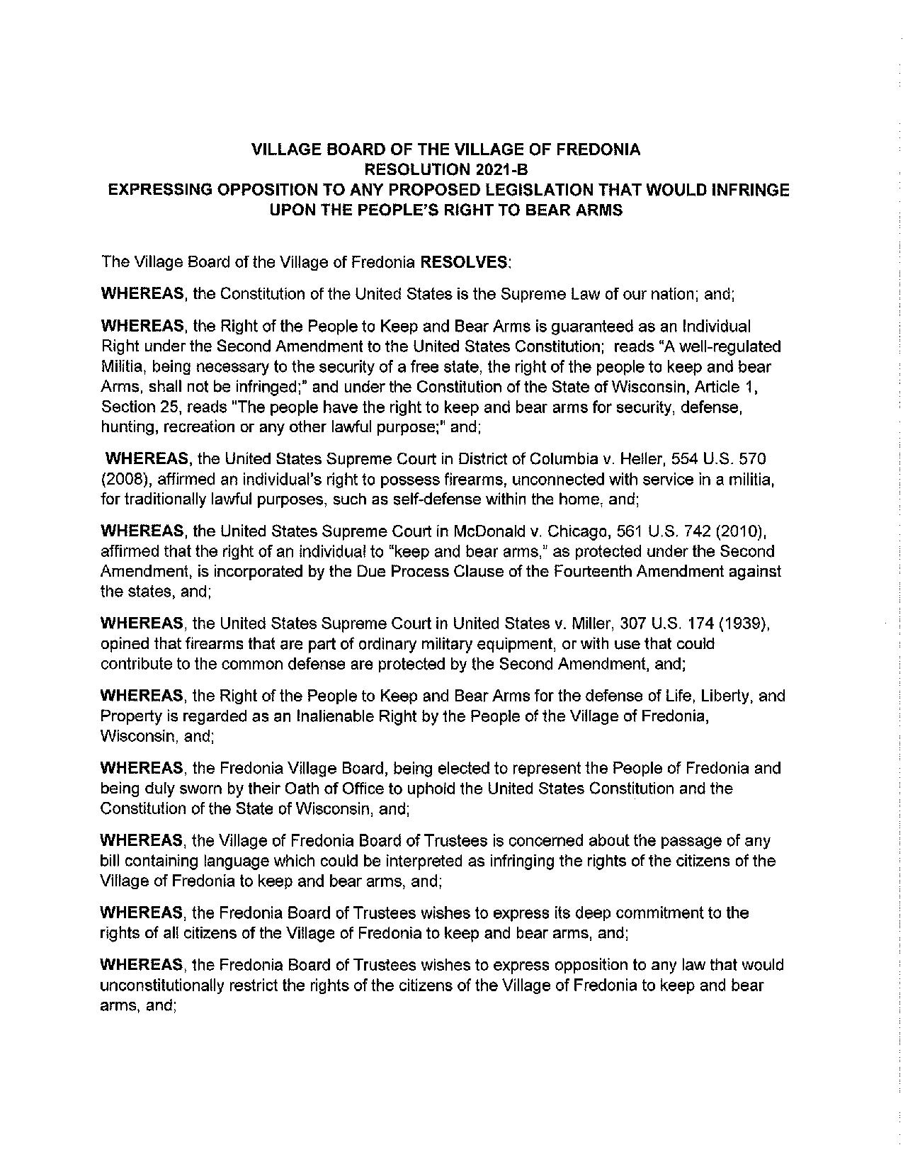 Village of Fredonia Resolution Page 1