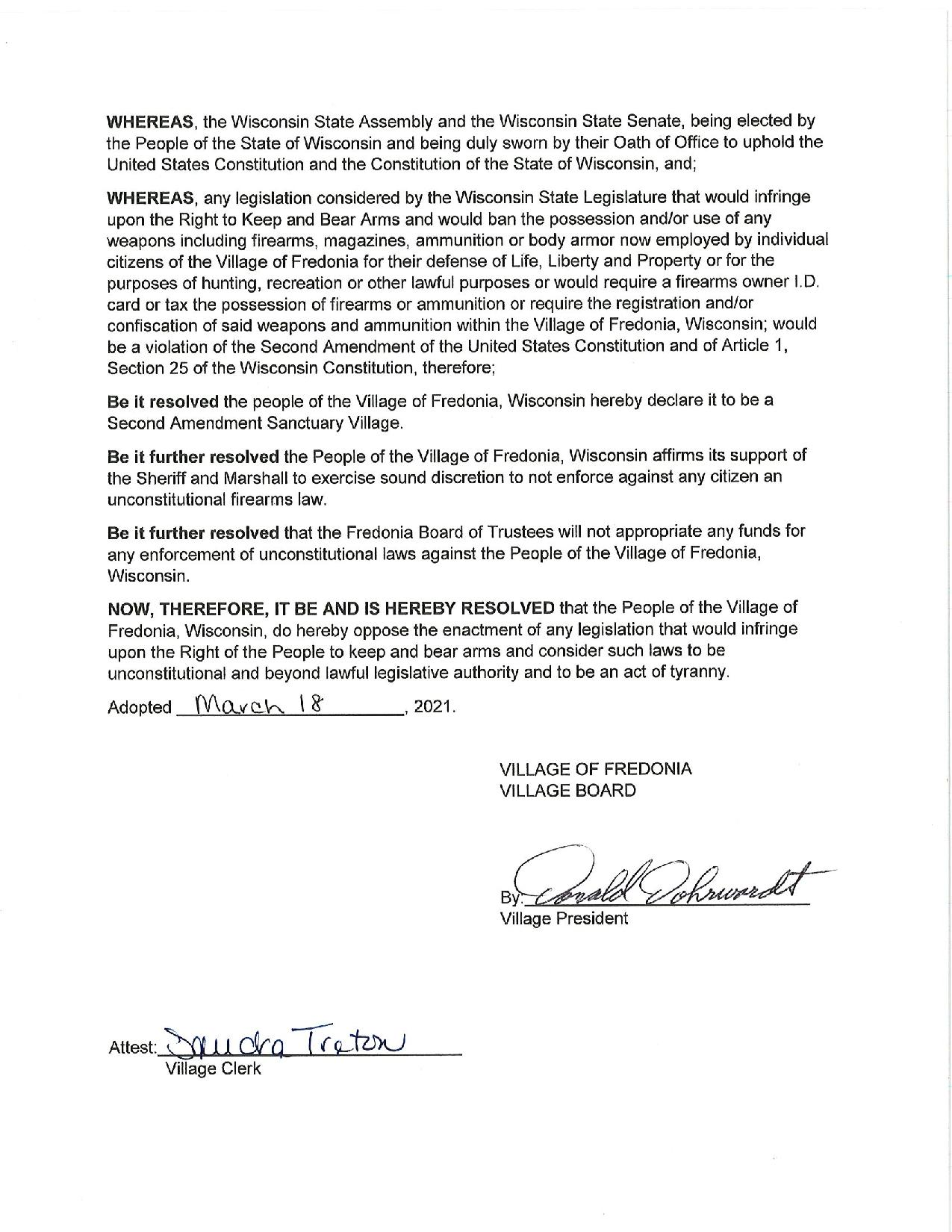 Village of Fredonia Resolution Page 2