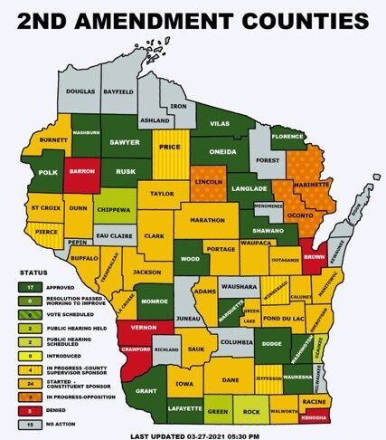 Wisconsin GrandSons of Liberty 2A Sanctuary County Map 27MAR2021