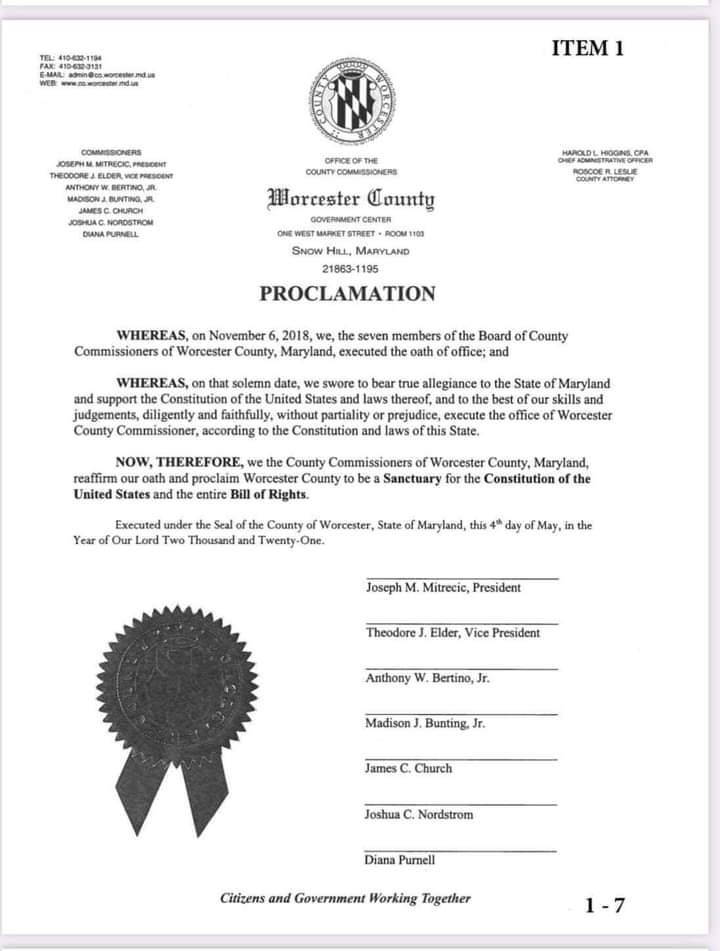 Worcester County Maryland Sanctuary Proclamation