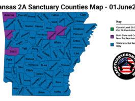 Arkansas Second Amendment Sanctuary Updated Map June 01 2021