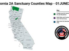 California Second Amendment Sanctuary Updated Map June 01 2021