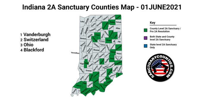 Indiana Second Amendment Sanctuary Updated Map June 01 2021