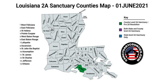 Louisiana Second Amendment Sanctuary Updated Map June 01 2021