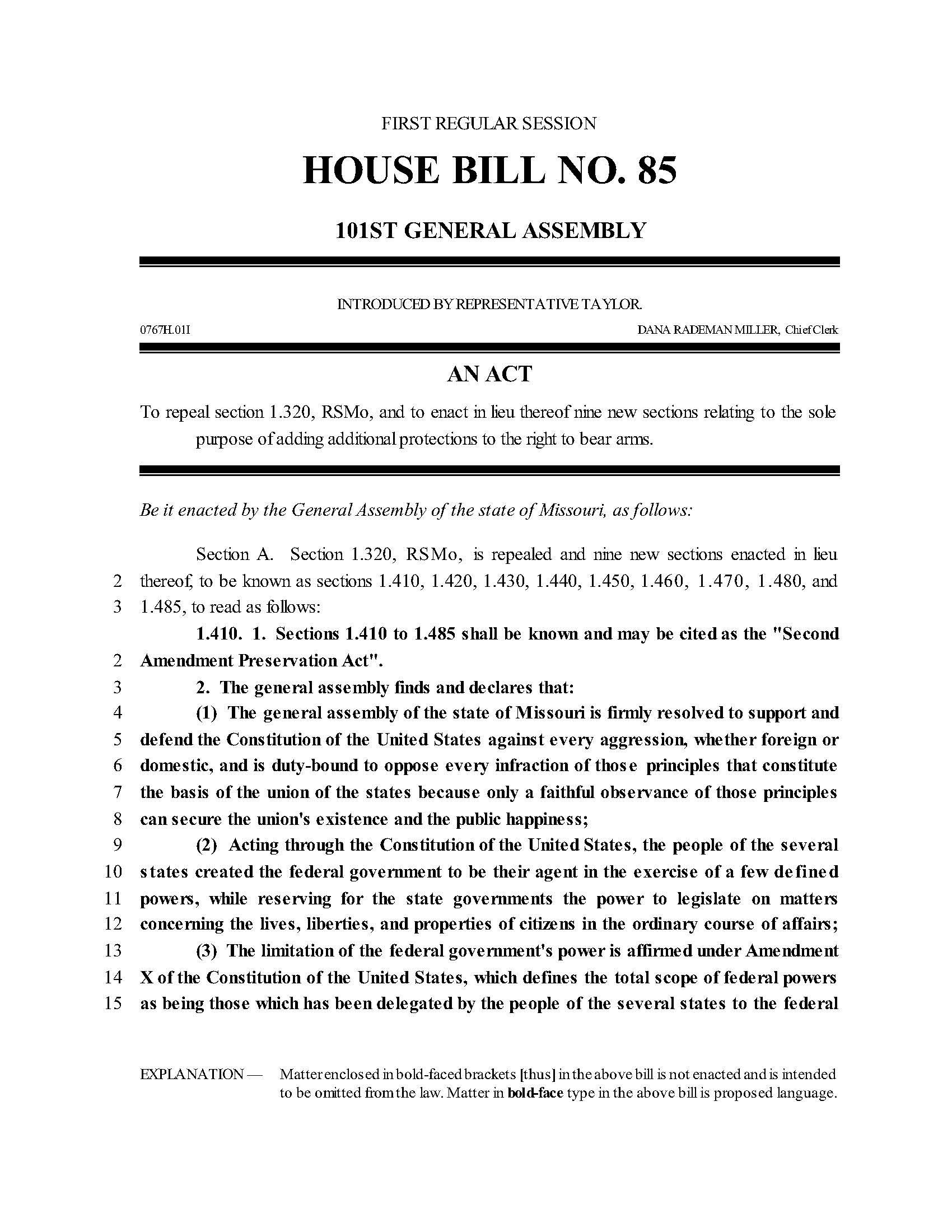 Missouri Second Amendment Preservation Act Page 1