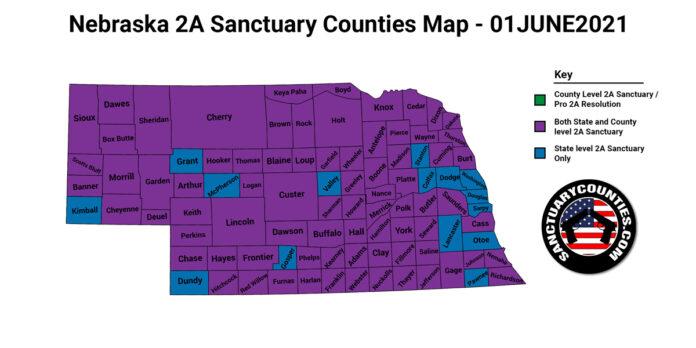 Nebraska Second Amendment Sanctuary Updated Map June 01 2021