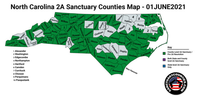 North Carolina Second Amendment Sanctuary Updated Map June 01 2021