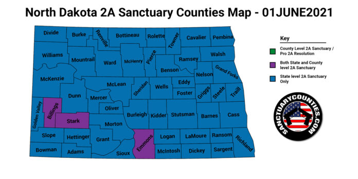 North Dakota Second Amendment Sanctuary Updated Map June 01 2021