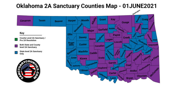Oklahoma Second Amendment Sanctuary Updated Map June 01 2021