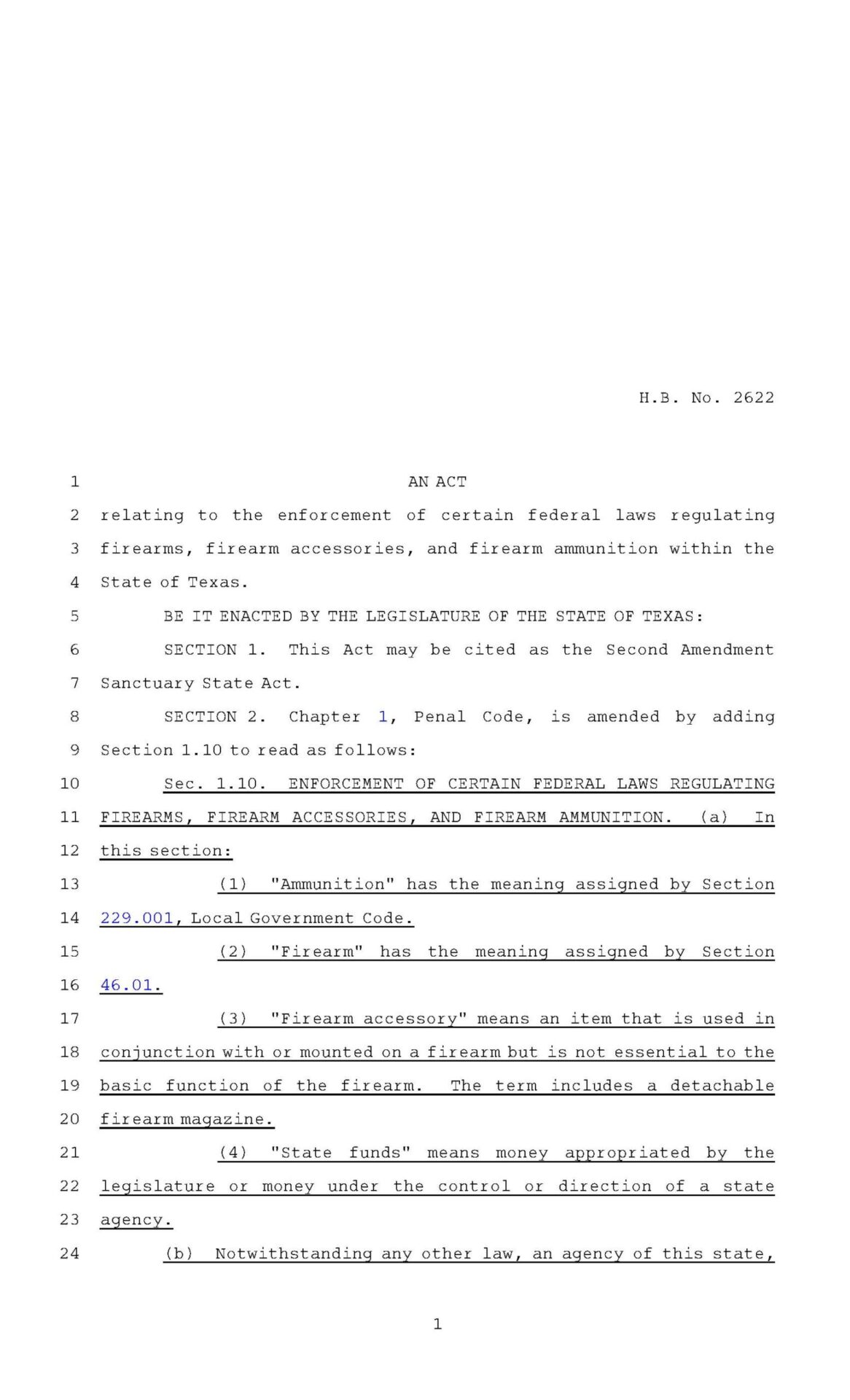 Texas Second Amendment Sanctuary State Act Page 1