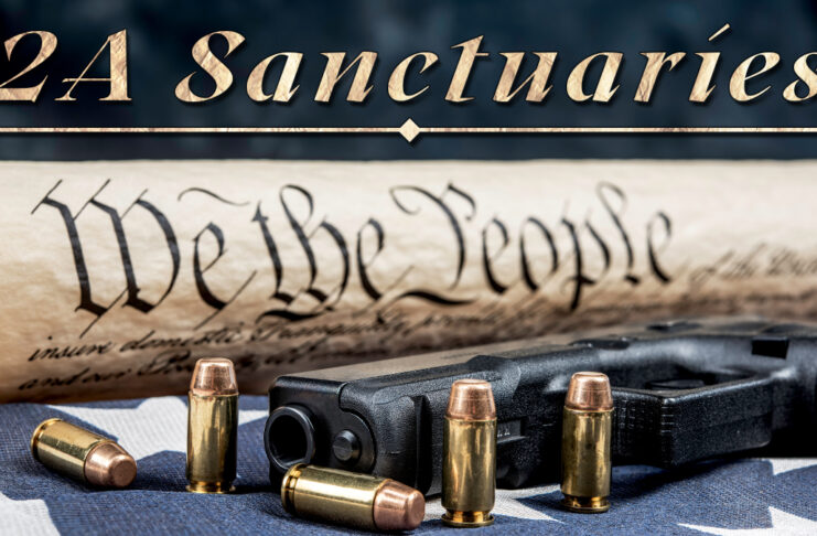 """Picture shows the Constitution with a gun and bullets on a flag and the words """"2A Sanctuaries"""" at the top."""