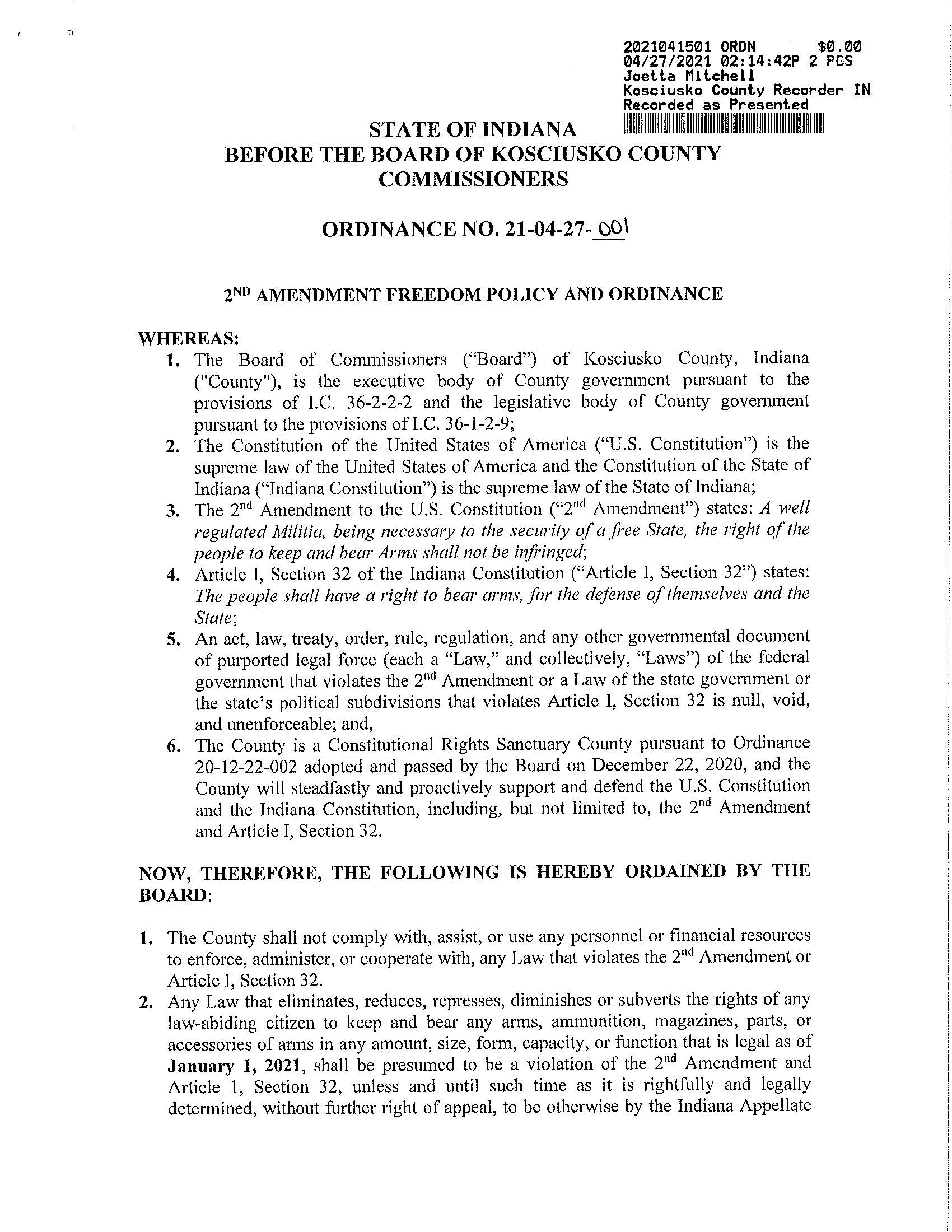 2nd Amendment Freedom Policy Ordiance Kosciusko Indiana Page 1