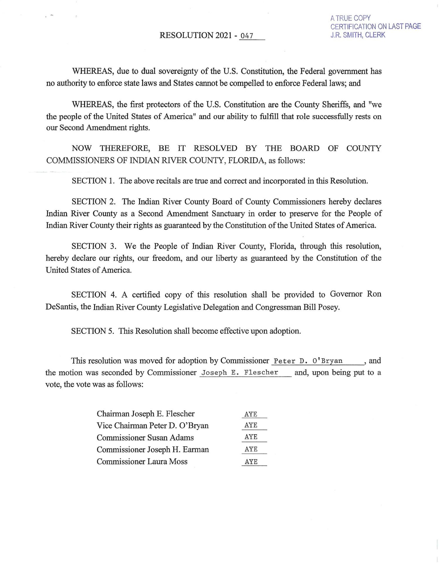 Indian River County Florida - Resolution 2021-047 Page 2