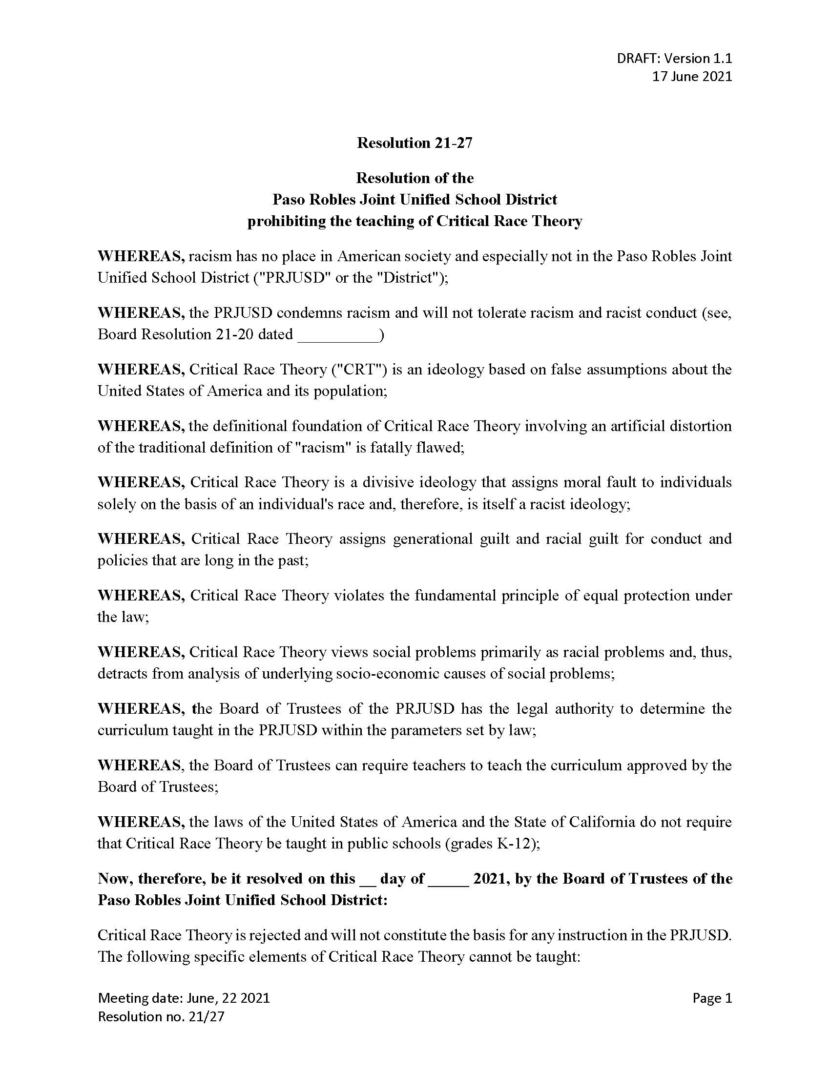 Paso Robles Joint Unified School District Critical Race Theory Resolution Page 1