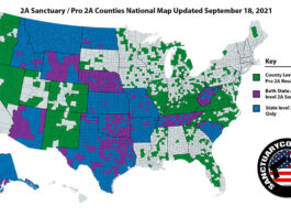 Second Amendment Sanctuary Counties National Map Update for September 18, 2021